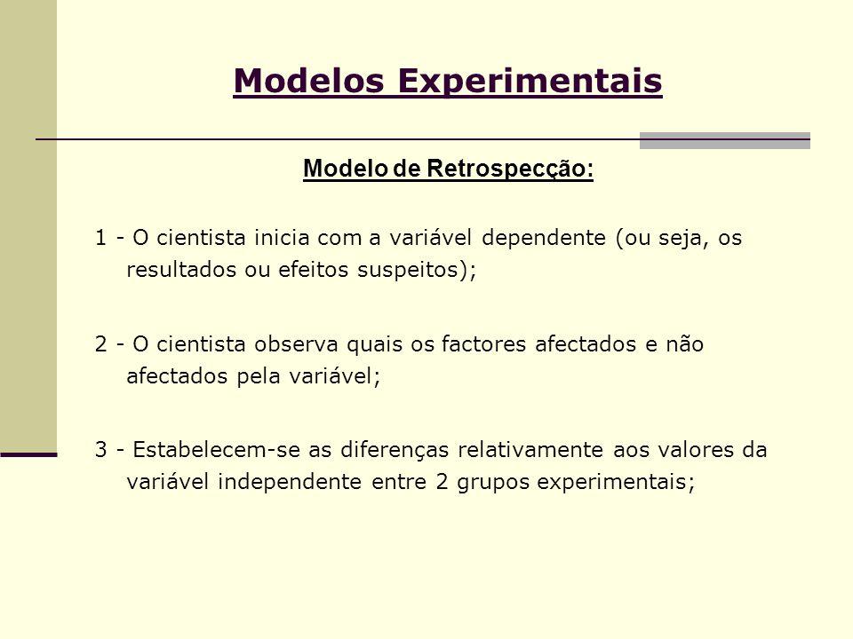 Modelos Experimentais Modelo de Retrospecção: 1 - O cientista inicia com a variável dependente (ou seja, os resultados ou efeitos suspeitos); 2 - O ci