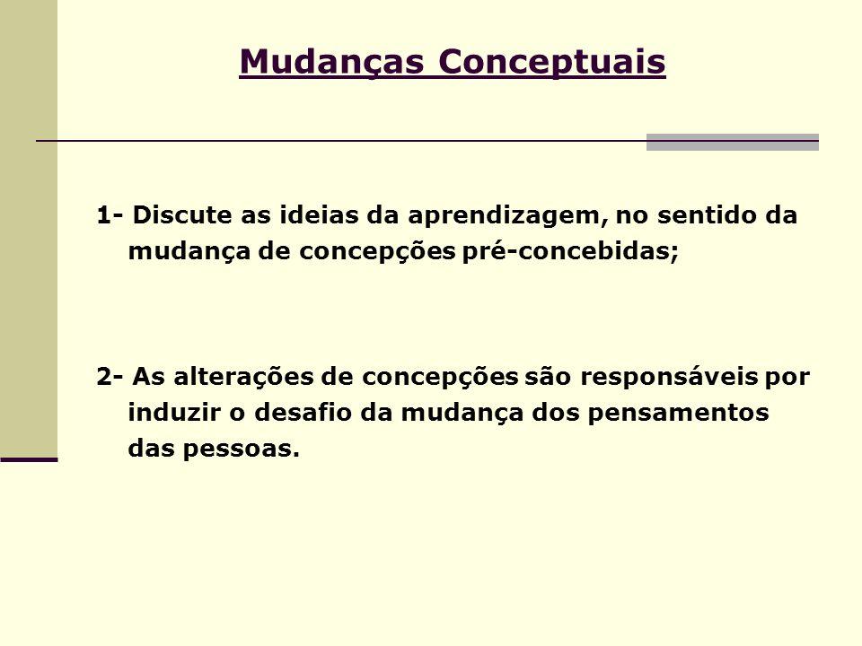 Mudanças Conceptuais 1- Discute as ideias da aprendizagem, no sentido da mudança de concepções pré-concebidas; 2- As alterações de concepções são resp
