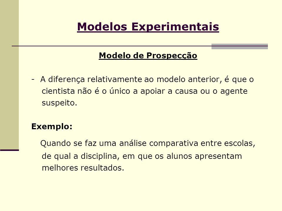 Modelos Experimentais Modelo de Prospecção - A diferença relativamente ao modelo anterior, é que o cientista não é o único a apoiar a causa ou o agent