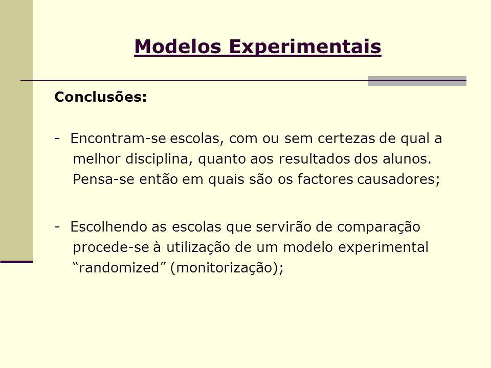 Modelos Experimentais Conclusões: - Encontram-se escolas, com ou sem certezas de qual a melhor disciplina, quanto aos resultados dos alunos. Pensa-se