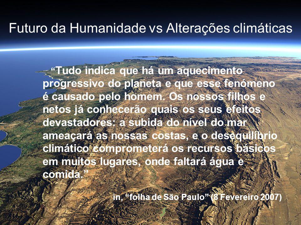 Futuro da Humanidade vs Alterações climáticas Tudo indica que há um aquecimento progressivo do planeta e que esse fenómeno é causado pelo homem. Os no