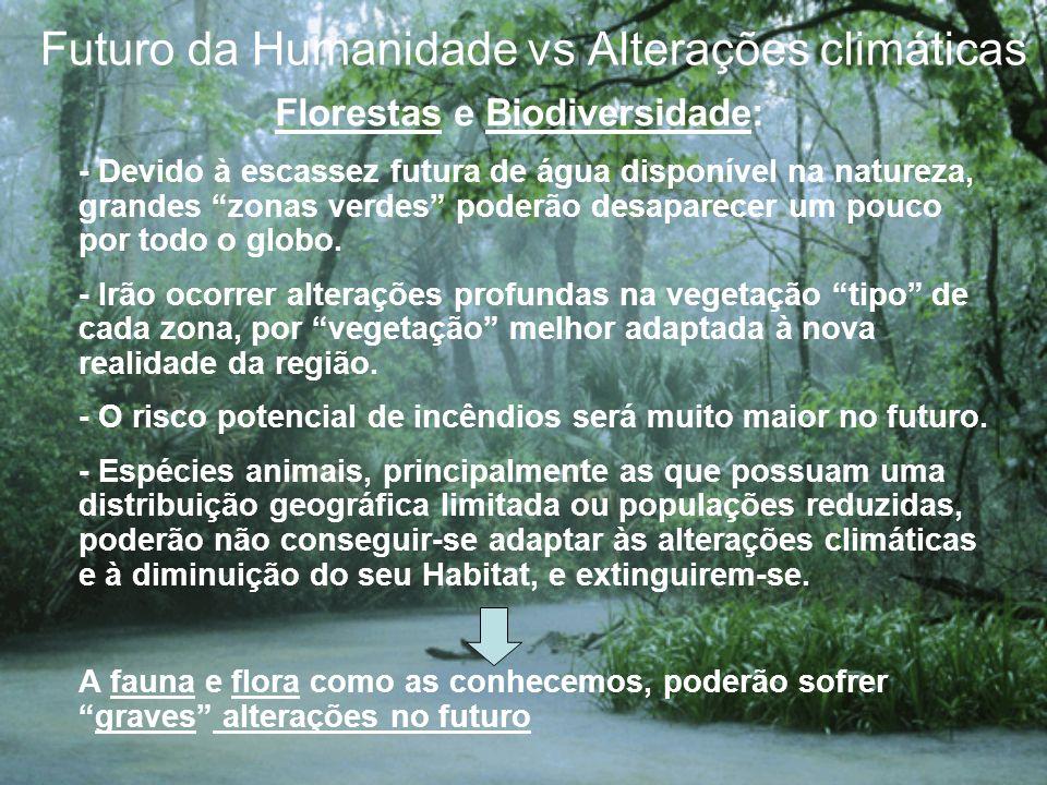 Futuro da Humanidade vs Alterações climáticas Florestas e Biodiversidade: - Devido à escassez futura de água disponível na natureza, grandes zonas ver