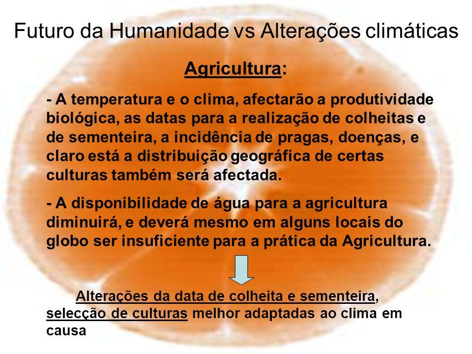 Futuro da Humanidade vs Alterações climáticas Agricultura: - A temperatura e o clima, afectarão a produtividade biológica, as datas para a realização