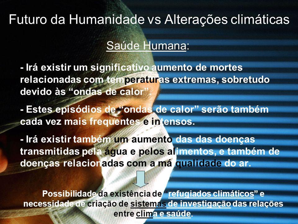 Futuro da Humanidade vs Alterações climáticas Saúde Humana: - Irá existir um significativo aumento de mortes relacionadas com temperaturas extremas, s