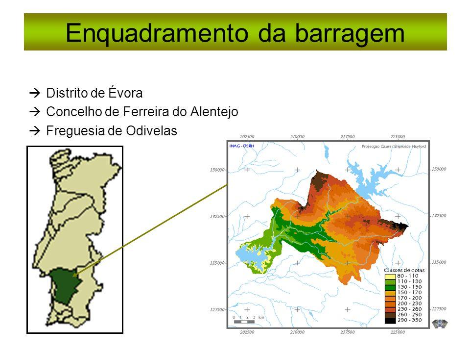 Enquadramento da barragem Distrito de Évora Concelho de Ferreira do Alentejo Freguesia de Odivelas