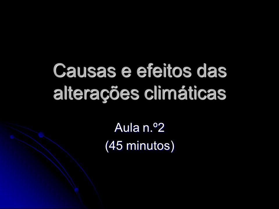 Causas e efeitos das alterações climáticas Aula n.º2 (45 minutos)