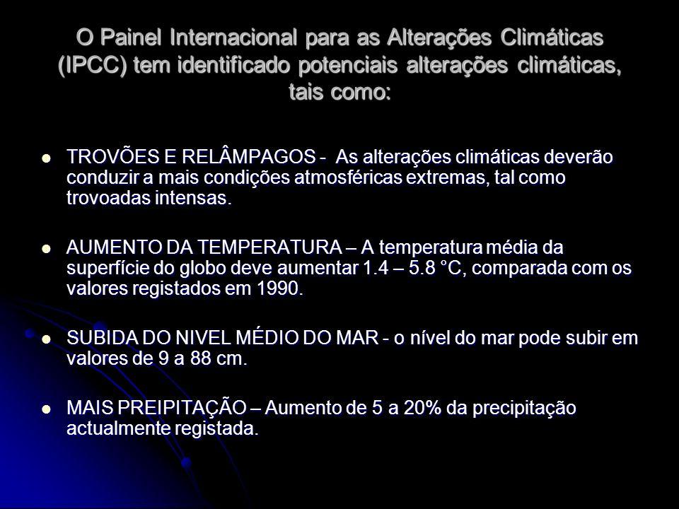 O Painel Internacional para as Alterações Climáticas (IPCC) tem identificado potenciais alterações climáticas, tais como: TROVÕES E RELÂMPAGOS - As al