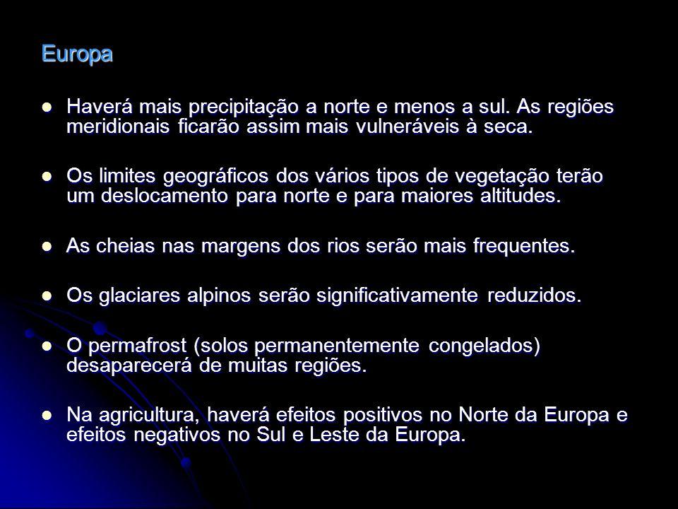 Europa Haverá mais precipitação a norte e menos a sul. As regiões meridionais ficarão assim mais vulneráveis à seca. Haverá mais precipitação a norte