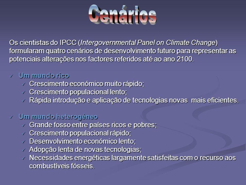 Os cientistas do IPCC (Intergovernmental Panel on Climate Change) formularam quatro cenários de desenvolvimento futuro para representar as potenciais alterações nos factores referidos até ao ano 2100.