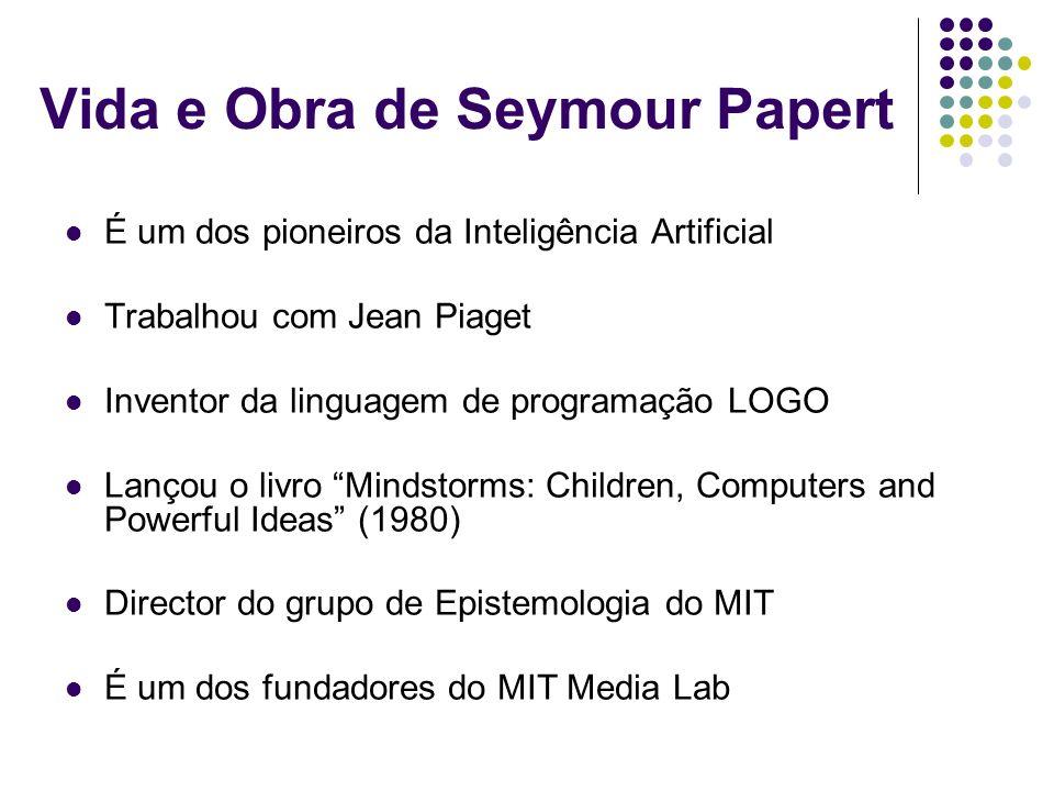 Vida e Obra de Seymour Papert É um dos pioneiros da Inteligência Artificial Trabalhou com Jean Piaget Inventor da linguagem de programação LOGO Lançou