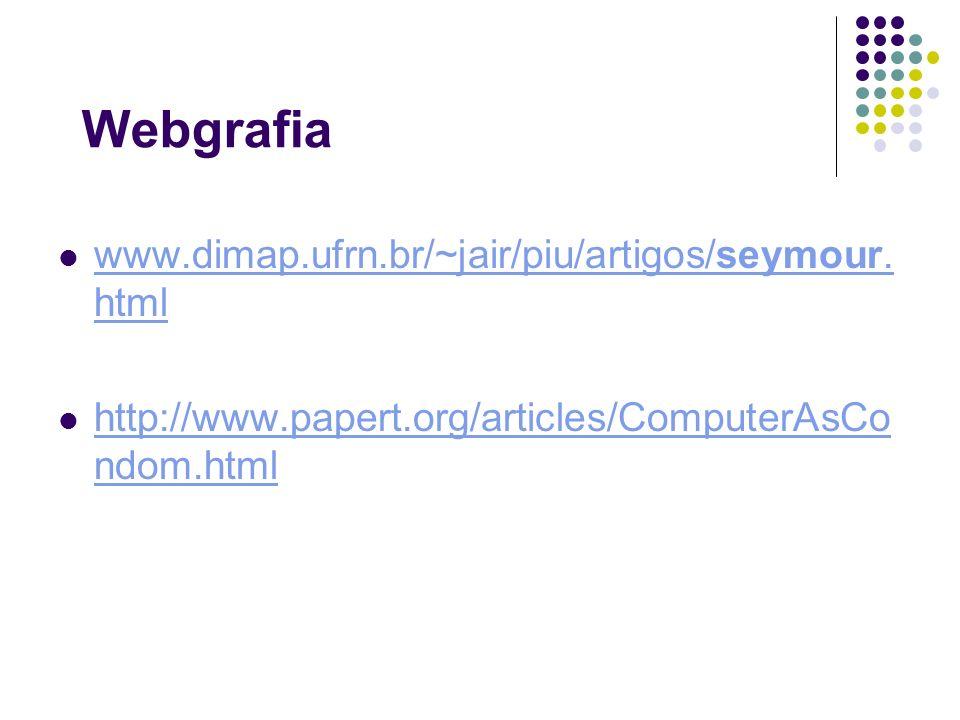 Webgrafia www.dimap.ufrn.br/~jair/piu/artigos/seymour. html www.dimap.ufrn.br/~jair/piu/artigos/seymour. html http://www.papert.org/articles/ComputerA