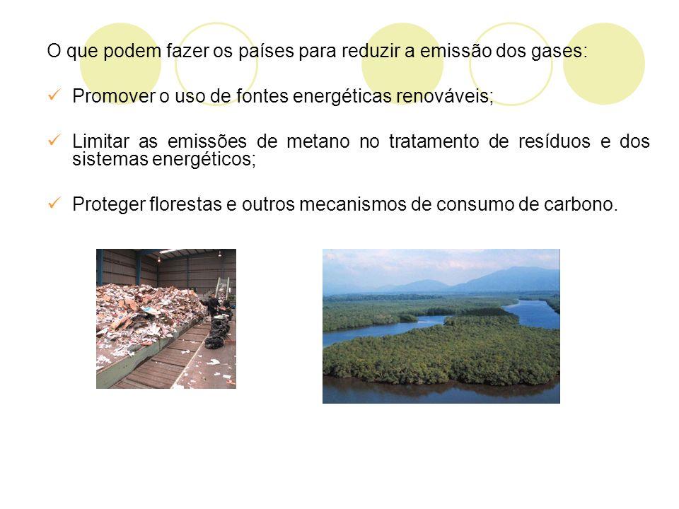 O que podem fazer os países para reduzir a emissão dos gases: Promover o uso de fontes energéticas renováveis; Limitar as emissões de metano no tratamento de resíduos e dos sistemas energéticos; Proteger florestas e outros mecanismos de consumo de carbono.