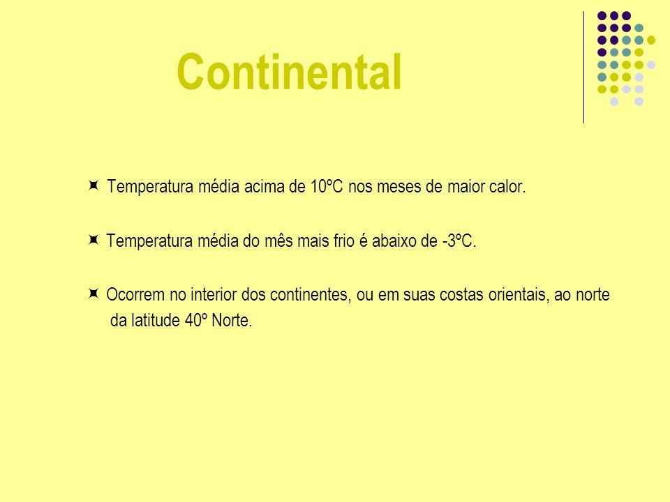 Continental Temperatura média acima de 10ºC nos meses de maior calor. Temperatura média do mês mais frio é abaixo de -3ºC. Ocorrem no interior dos con
