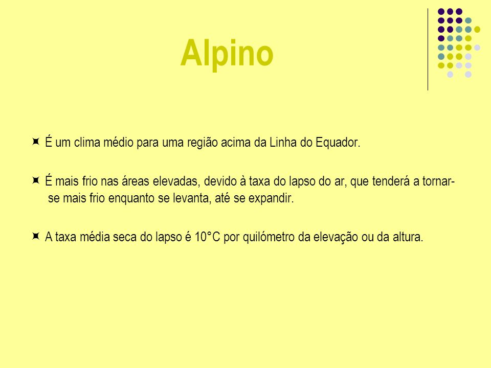 Alpino É um clima médio para uma região acima da Linha do Equador. É mais frio nas áreas elevadas, devido à taxa do lapso do ar, que tenderá a tornar-