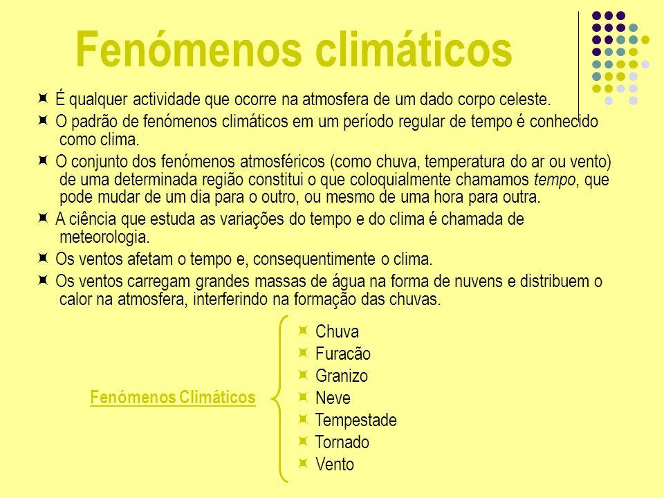 Fenómenos climáticos É qualquer actividade que ocorre na atmosfera de um dado corpo celeste. O padrão de fenómenos climáticos em um período regular de