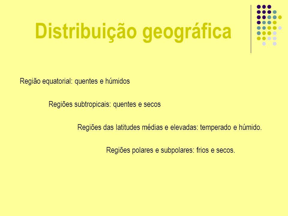 Distribuição geográfica Região equatorial: quentes e húmidos Regiões subtropicais: quentes e secos Regiões das latitudes médias e elevadas: temperado