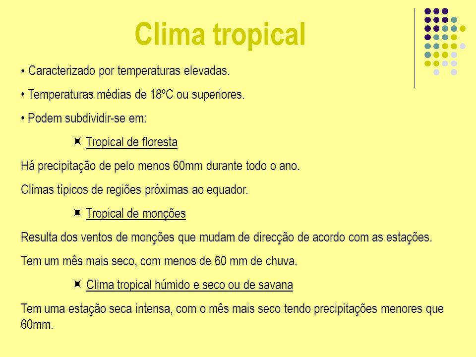 Clima tropical Caracterizado por temperaturas elevadas. Temperaturas médias de 18ºC ou superiores. Podem subdividir-se em: Tropical de floresta Há pre
