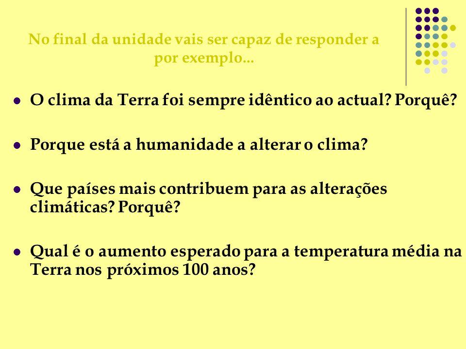 O clima da Terra foi sempre idêntico ao actual? Porquê? Porque está a humanidade a alterar o clima? Que países mais contribuem para as alterações clim