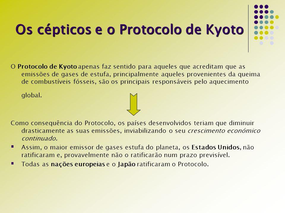 Os cépticos e o Protocolo de Kyoto O Protocolo de Kyoto apenas faz sentido para aqueles que acreditam que as emissões de gases de estufa, principalmen