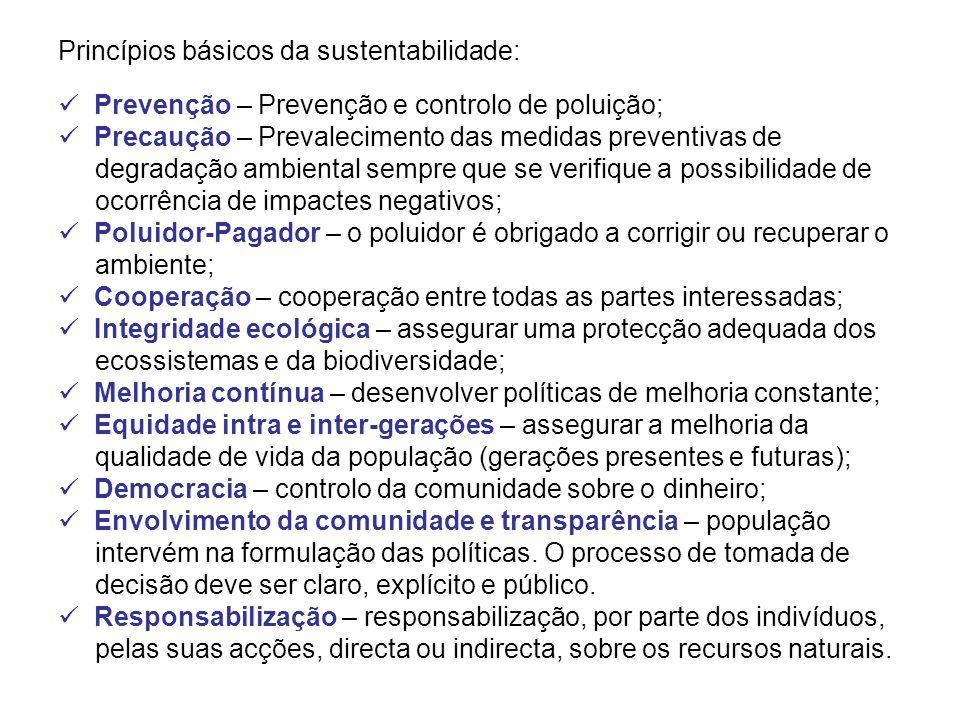 Princípios básicos da sustentabilidade: Prevenção – Prevenção e controlo de poluição; Precaução – Prevalecimento das medidas preventivas de degradação