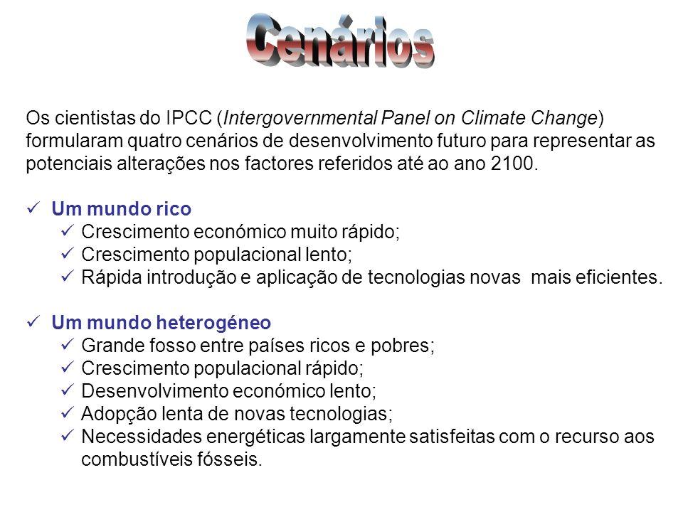 Os cientistas do IPCC (Intergovernmental Panel on Climate Change) formularam quatro cenários de desenvolvimento futuro para representar as potenciais