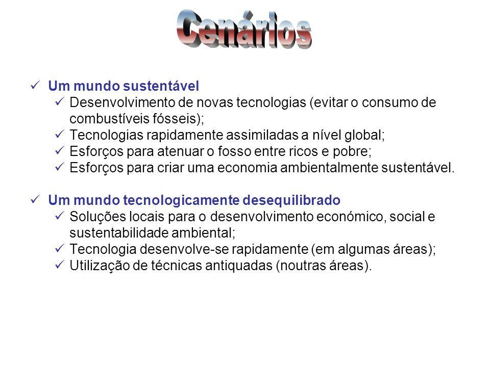Um mundo sustentável Desenvolvimento de novas tecnologias (evitar o consumo de combustíveis fósseis); Tecnologias rapidamente assimiladas a nível glob