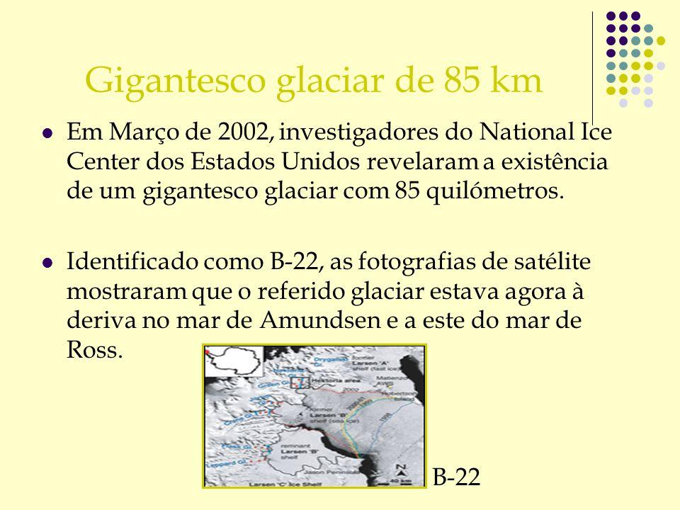 Gigantesco glaciar de 85 km Em Março de 2002, investigadores do National Ice Center dos Estados Unidos revelaram a existência de um gigantesco glaciar