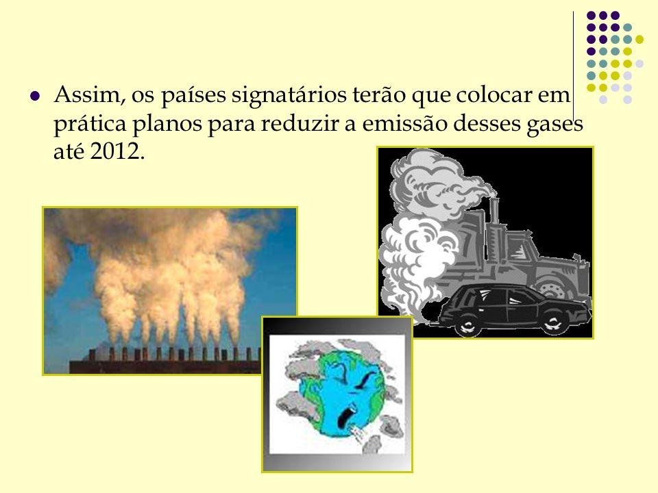 Assim, os países signatários terão que colocar em prática planos para reduzir a emissão desses gases até 2012.
