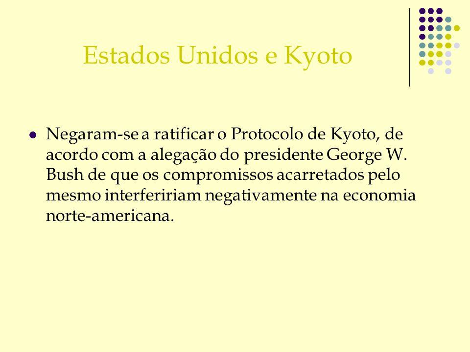 Estados Unidos e Kyoto Negaram-se a ratificar o Protocolo de Kyoto, de acordo com a alegação do presidente George W. Bush de que os compromissos acarr
