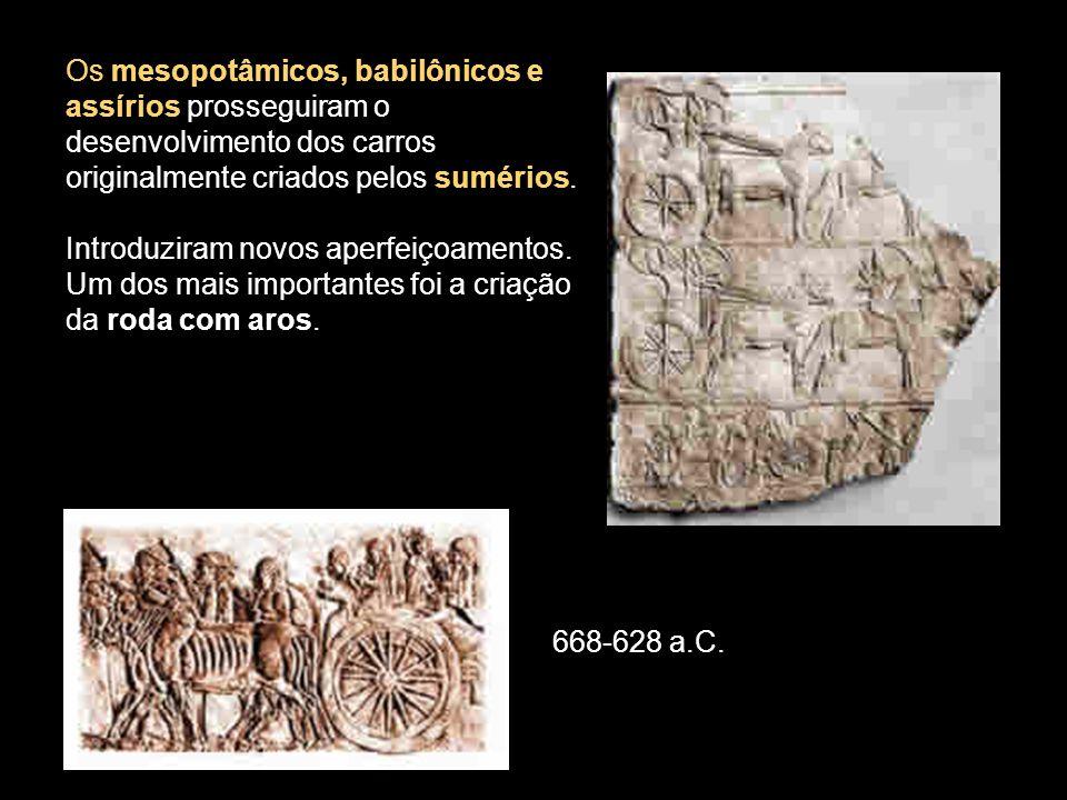 Os mesopotâmicos, babilônicos e assírios prosseguiram o desenvolvimento dos carros originalmente criados pelos sumérios.