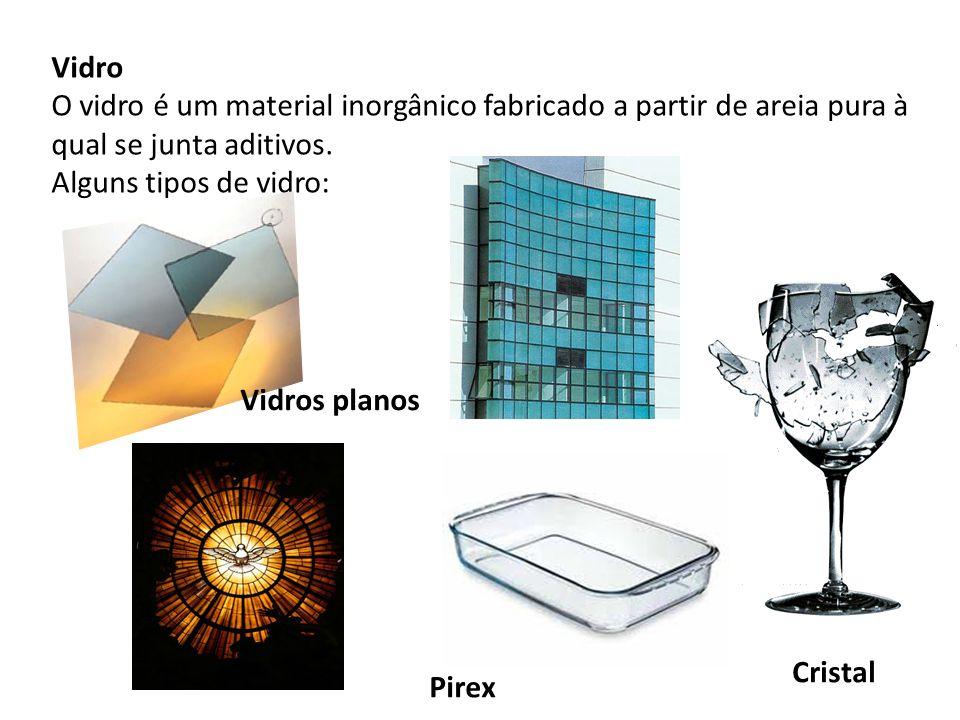 Vidro O vidro é um material inorgânico fabricado a partir de areia pura à qual se junta aditivos. Alguns tipos de vidro: Cristal Pirex Vidros planos