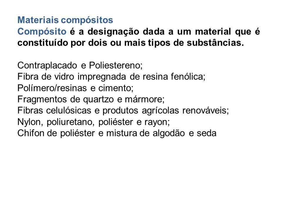 Materiais compósitos Compósito é a designação dada a um material que é constituído por dois ou mais tipos de substâncias. Contraplacado e Poliestereno