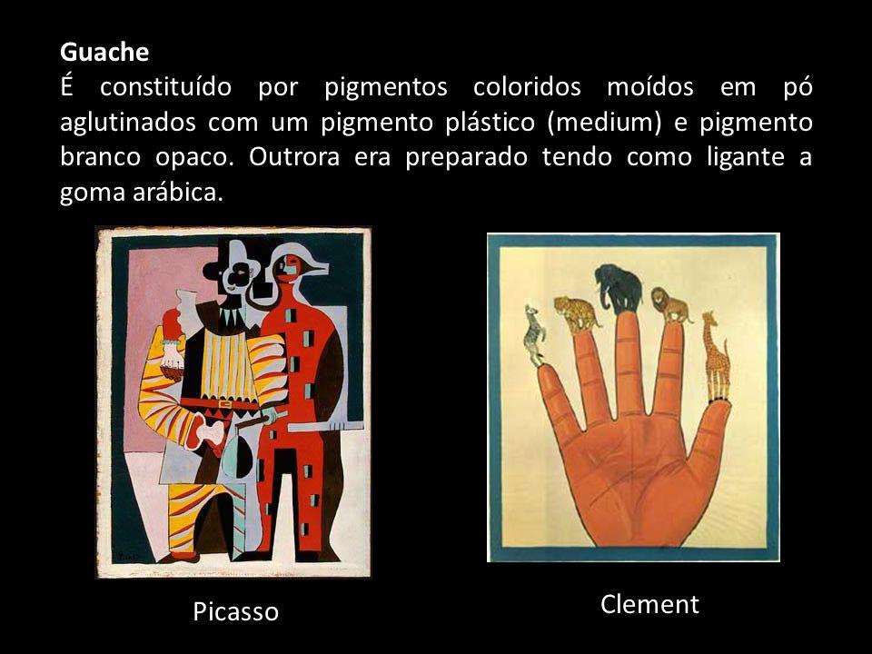Guache É constituído por pigmentos coloridos moídos em pó aglutinados com um pigmento plástico (medium) e pigmento branco opaco. Outrora era preparado