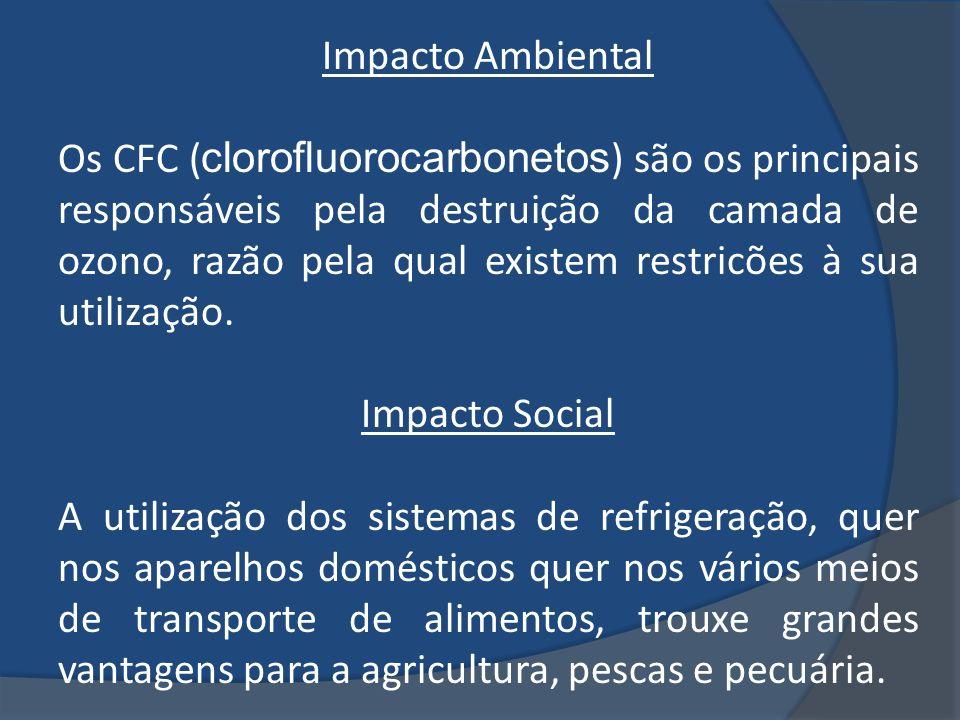 Impacto Ambiental Os CFC ( clorofluorocarbonetos ) são os principais responsáveis pela destruição da camada de ozono, razão pela qual existem restricõ