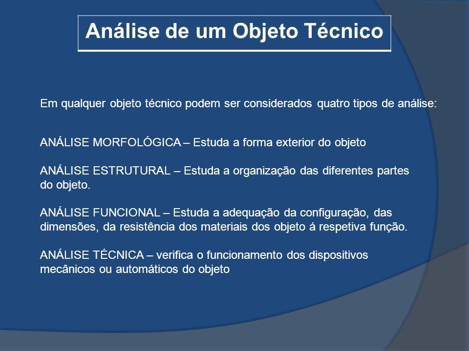Análise de um Objeto Técnico Em qualquer objeto técnico podem ser considerados quatro tipos de análise: ANÁLISE MORFOLÓGICA – Estuda a forma exterior