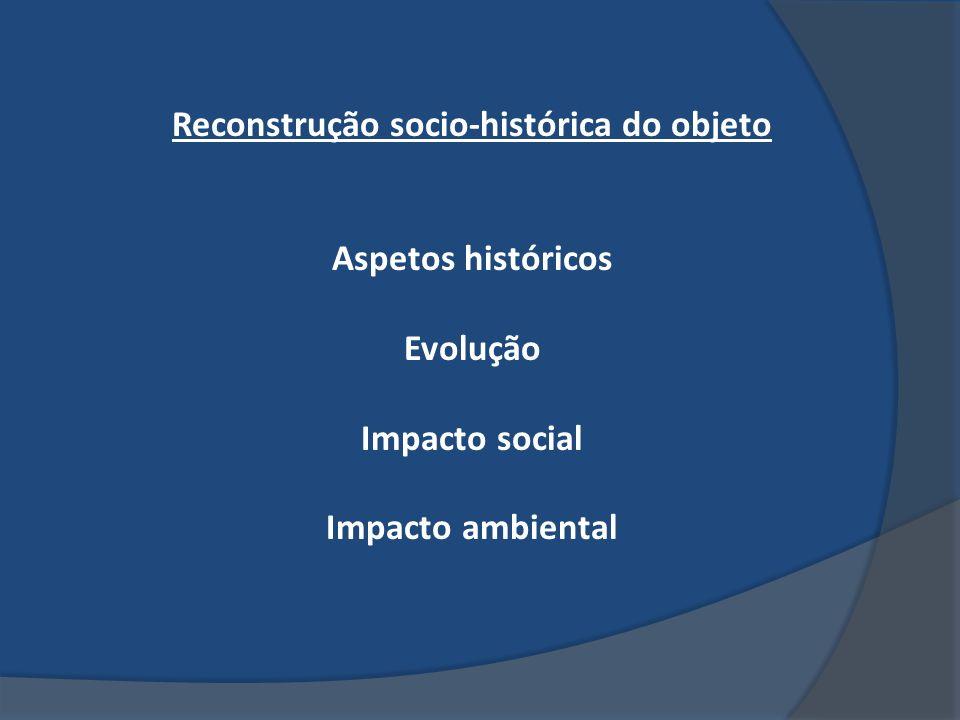 Reconstrução socio-histórica do objeto Aspetos históricos Evolução Impacto social Impacto ambiental