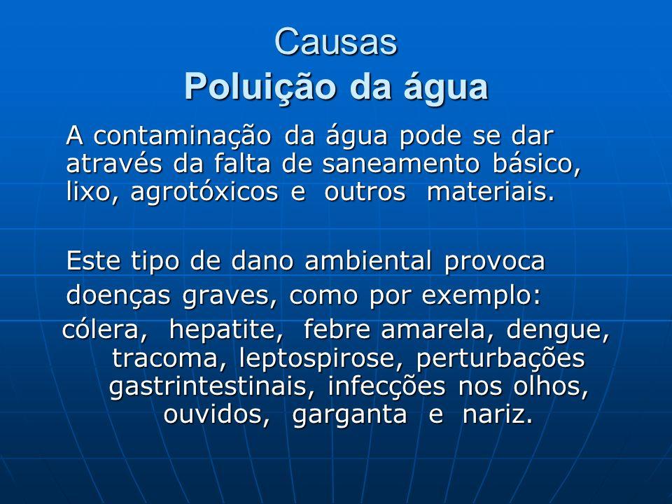 Causas Poluição da água A contaminação da água pode se dar através da falta de saneamento básico, lixo, agrotóxicos e outros materiais. A contaminação