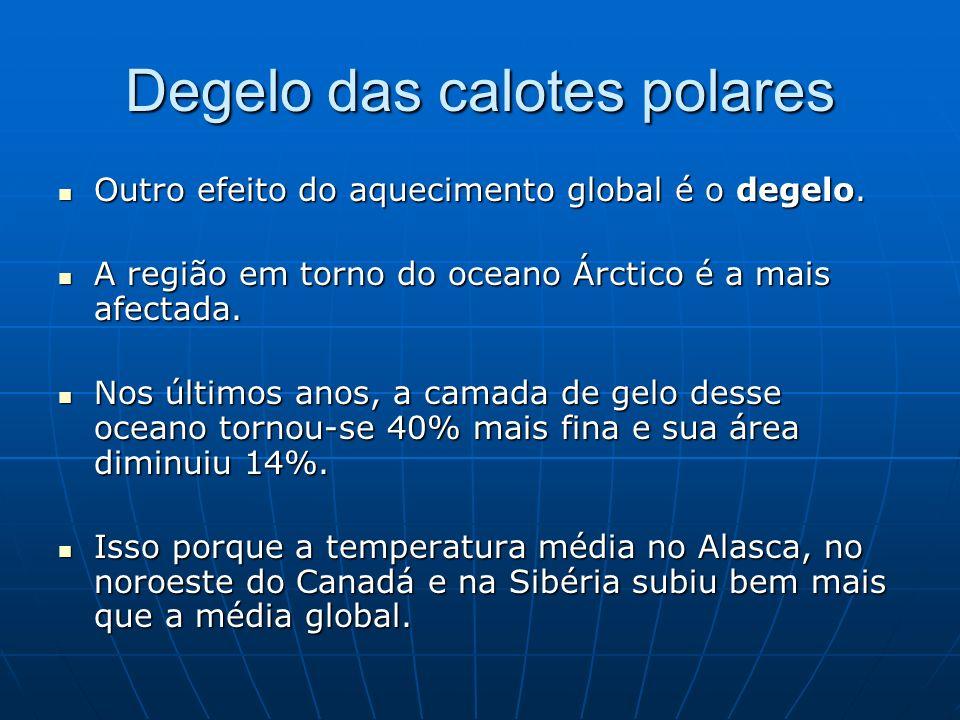 Degelo das calotes polares Outro efeito do aquecimento global é o degelo. Outro efeito do aquecimento global é o degelo. A região em torno do oceano Á