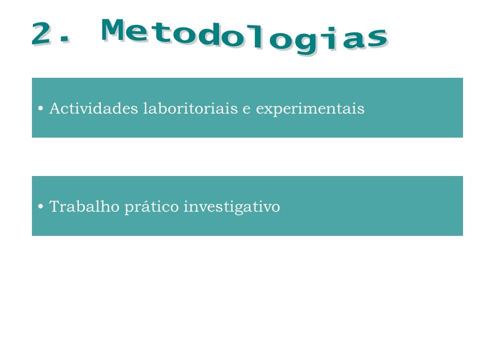 Actividades laboritoriais e experimentais Trabalho prático investigativo