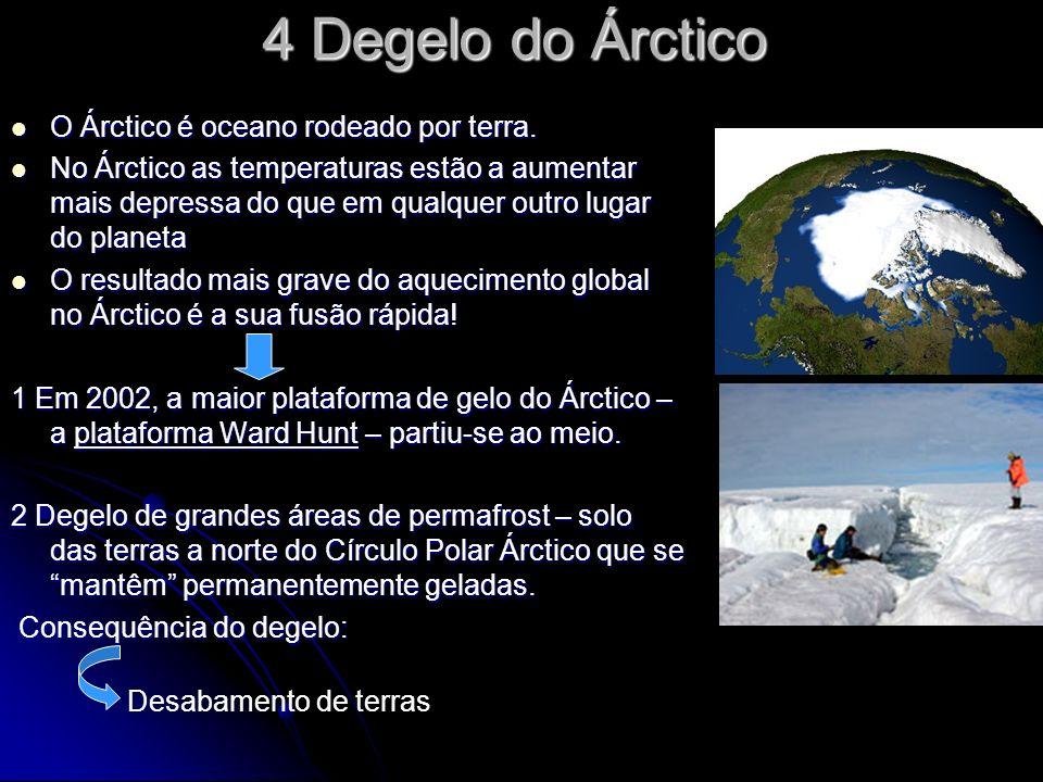 4 Degelo do Árctico O Árctico é oceano rodeado por terra.