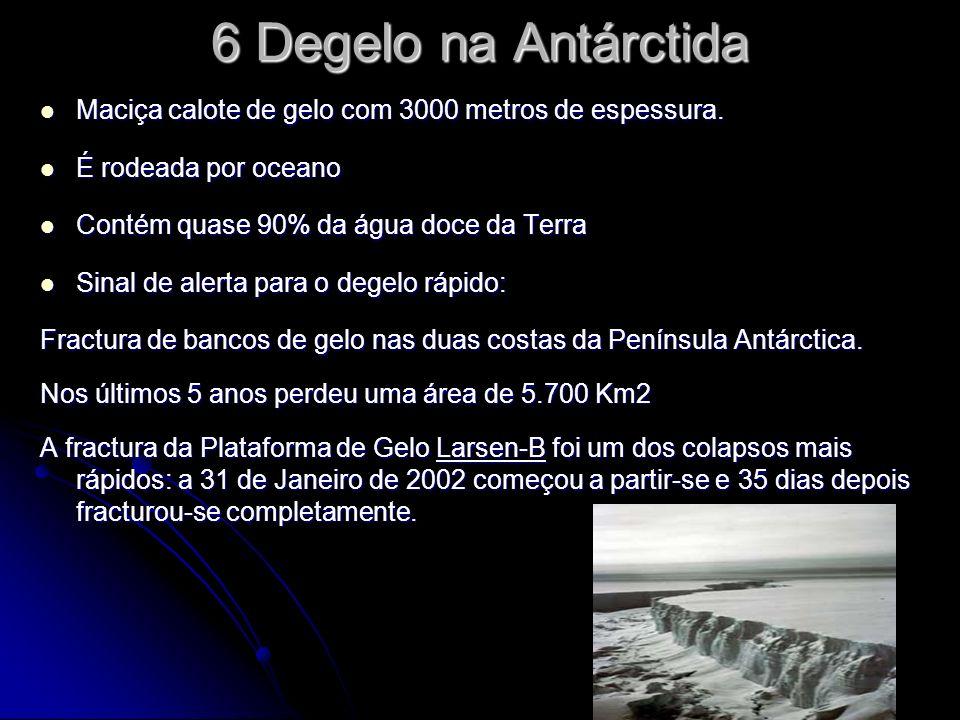 6 Degelo na Antárctida Maciça calote de gelo com 3000 metros de espessura.