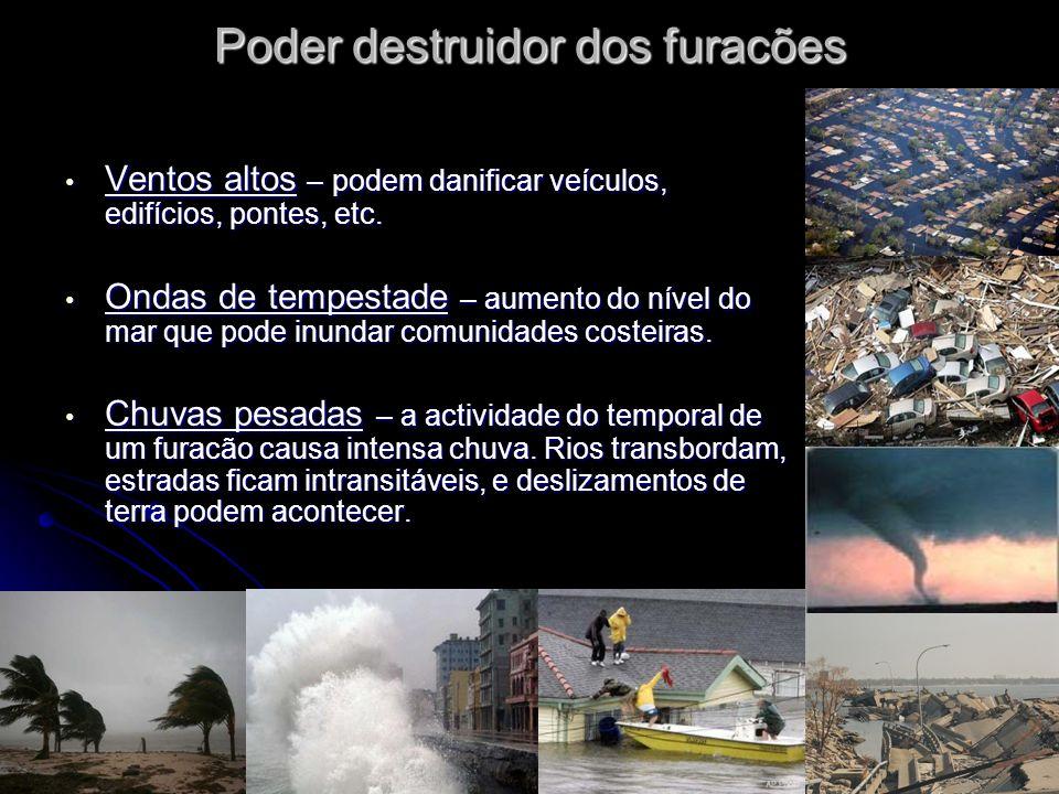 Poder destruidor dos furacões Ventos altos – podem danificar veículos, edifícios, pontes, etc.