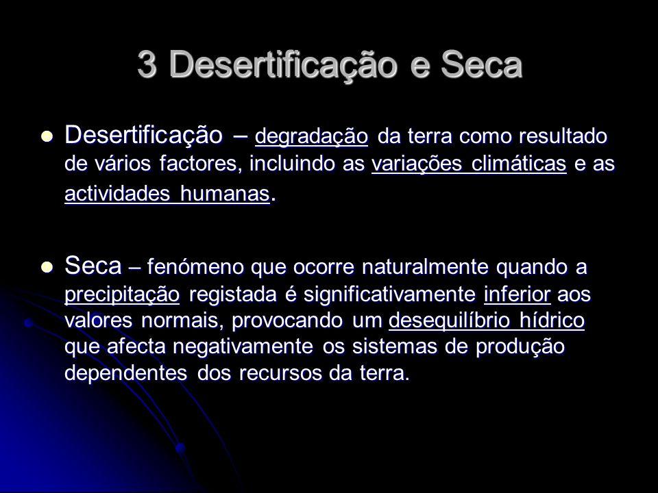 3 Desertificação e Seca Desertificação – degradação da terra como resultado de vários factores, incluindo as variações climáticas e as actividades humanas.