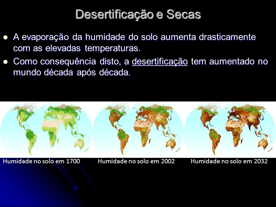 Desertificação e Secas A evaporação da humidade do solo aumenta drasticamente com as elevadas temperaturas.