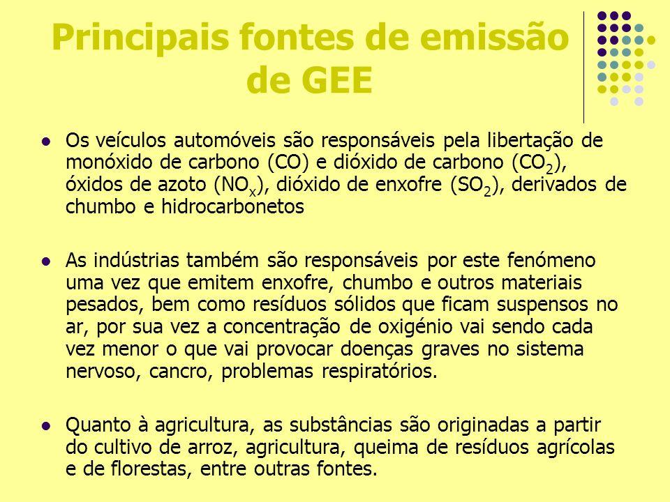 Principais fontes de emissão de GEE Os veículos automóveis são responsáveis pela libertação de monóxido de carbono (CO) e dióxido de carbono (CO 2 ),