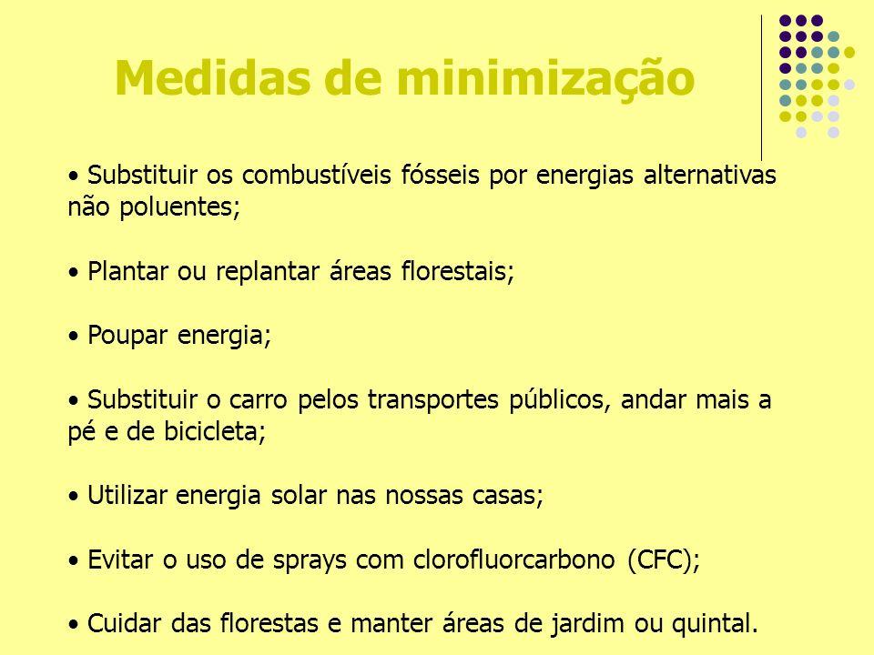Medidas de minimização Substituir os combustíveis fósseis por energias alternativas não poluentes; Plantar ou replantar áreas florestais; Poupar energ