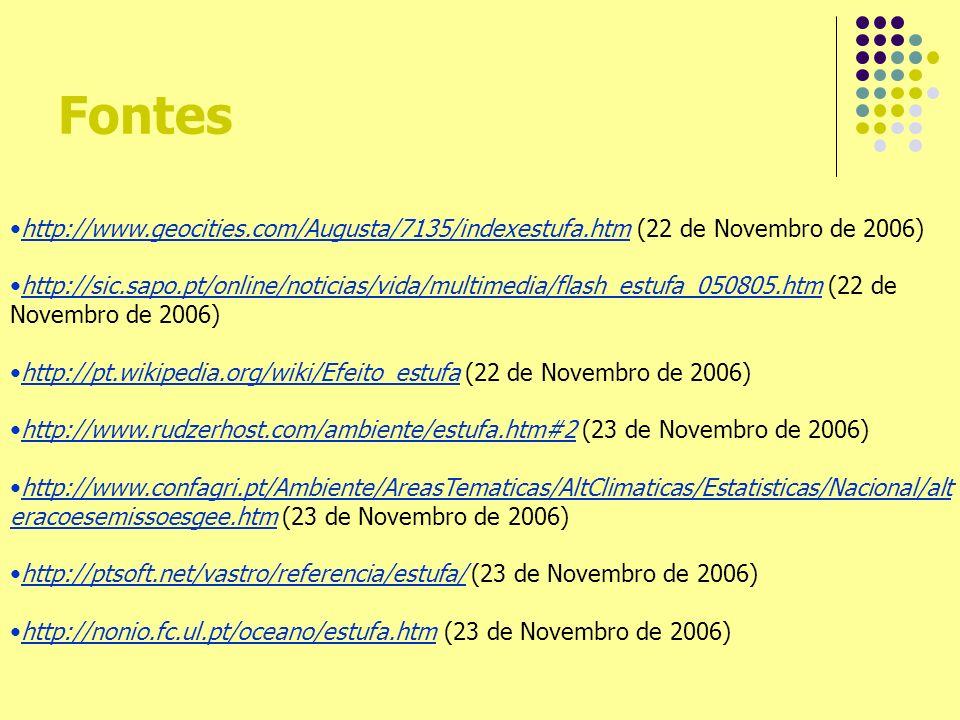 Fontes http://www.geocities.com/Augusta/7135/indexestufa.htm (22 de Novembro de 2006) http://sic.sapo.pt/online/noticias/vida/multimedia/flash_estufa_