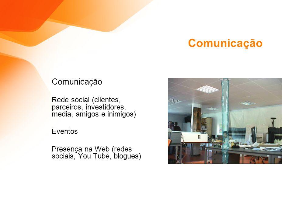 Comunicação Rede social (clientes, parceiros, investidores, media, amigos e inimigos) Eventos Presença na Web (redes sociais, You Tube, blogues)