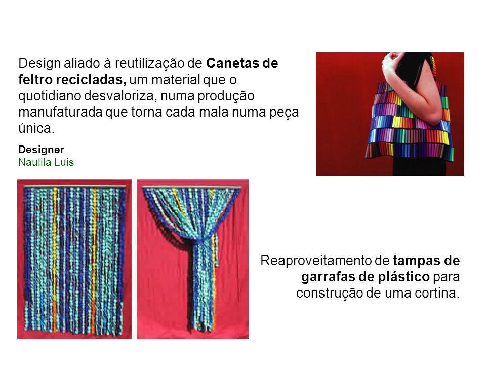 Design aliado à reutilização de Canetas de feltro recicladas, um material que o quotidiano desvaloriza, numa produção manufaturada que torna cada mala