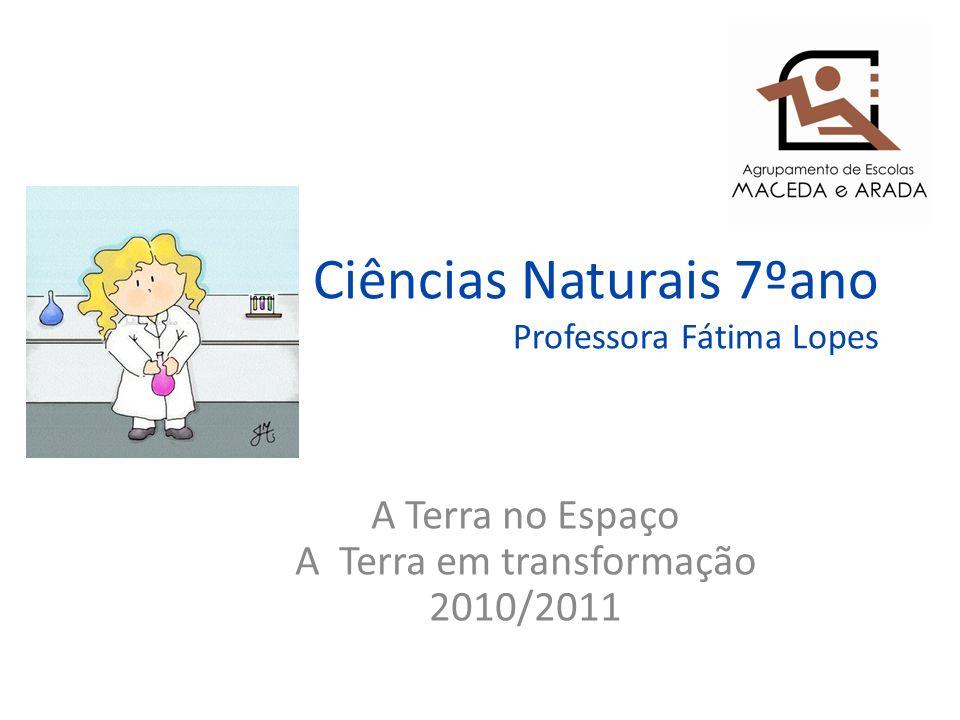 Ciências Naturais 7ºano Professora Fátima Lopes A Terra no Espaço A Terra em transformação 2010/2011